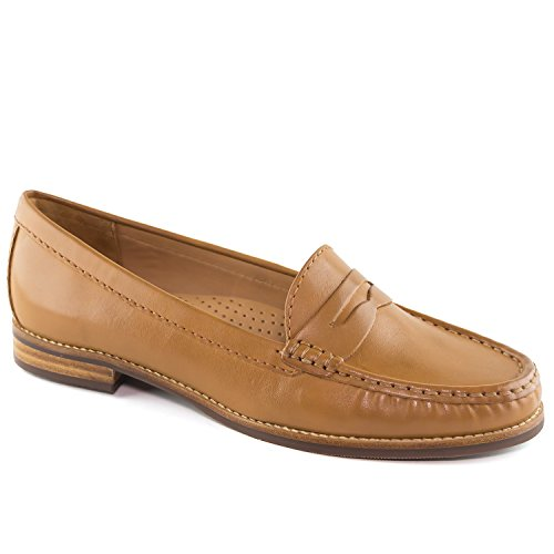 Driver Club USA Women's Fashion Shoes Greenwich Tan Napa/Patent Penny Loafer Size 10 (More Size/Colors Available)