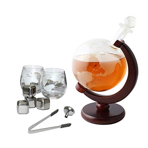 NEX Whiskey Decanter Set, Etched World Globe, Crafted Glass Sailing Shipe, 1000ml Capacity, Ice Tongs, Whiskey Stones, Home Bar Liquor Decoration, Alcohol Gifts for Father& Husband ()