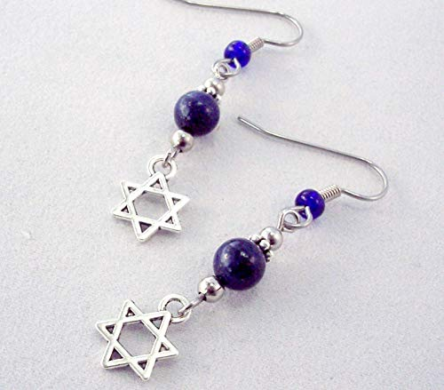 Hanukkah Star of David Lapis Lazuli Pewter Charm Earrings Blue