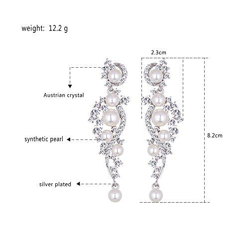 mecresh Women's Simulated Pearl Jewelery Set for Wedding Clear Austrian Crystal(1 Set Earring,1PCS Bracelet) by mecresh (Image #4)