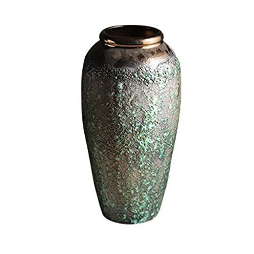 Cylinder Decorative vase Vase AXZHYZ19060609 Pottery Star Dry Flower Arrangement Retro Small Fresh Living Room Small Vase Porcelain Bottle Life vase Flower Shop Bouquet Box (Size : 18x35x10cm)