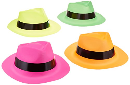 Adorox 12 Neon Fedora Party Favors Plastic Gangster Hats, ()