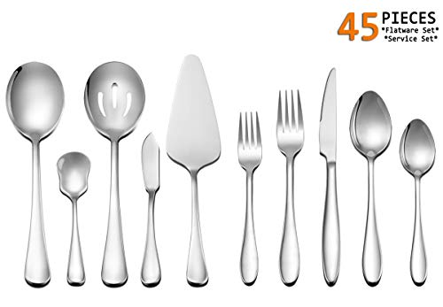 - Silverware Set Service for 8, E-far 45-Piece Stainless Steel Flatware Utensil Set with Serving Set, Perfect for Big Family/Wedding/Hotel/Restaurant - Dishwasher Safe