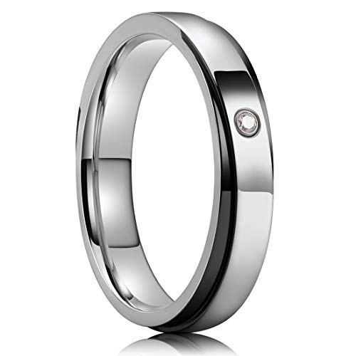 (NaNa Chic Jewelry 4mm Titanium Ring Inlaid with White Zircon Partially Black High Polished 6.5)