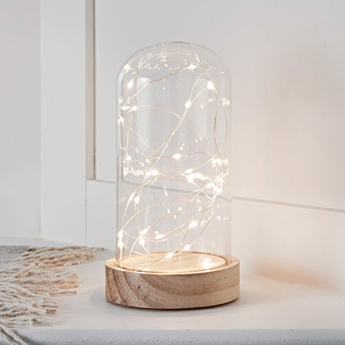 (Battery Operated LED Fairy Light Glass Dome with Wooden Base - 9