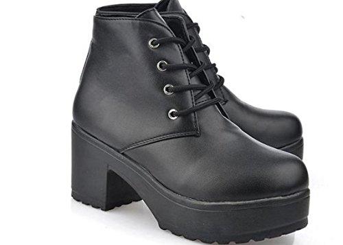 Scarpe YCMDM New Spring singole PU artificiale Women Shoes tacco alto scarpe impermeabili , black , 36