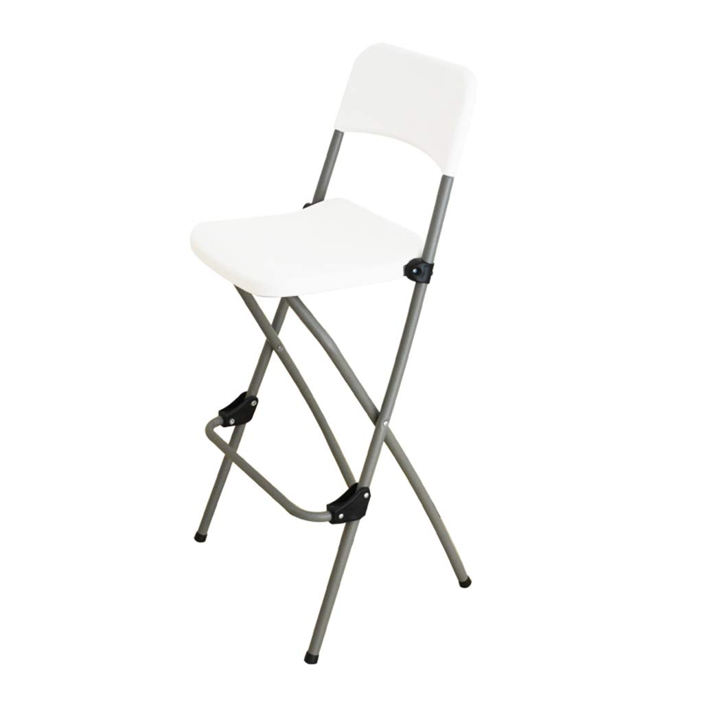 White Bar Stool with backrest Foldable   Breakfast Kitchen Bar Stool Furniture High Chair -73cm (Colour  Black,White)