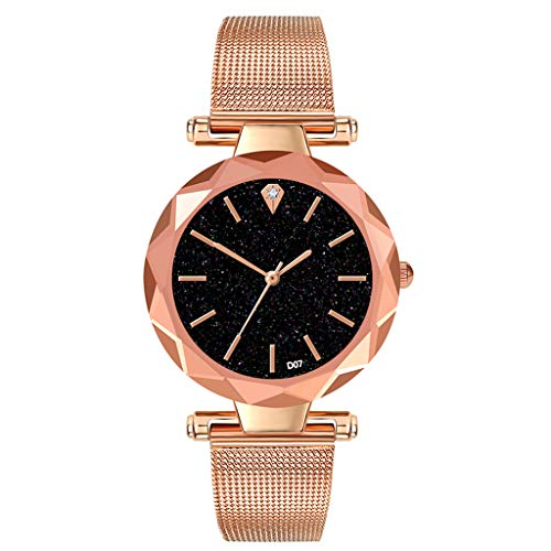 LUCAMORE Fashion Women's Quartz Watches On Sale Starry Dial Buckle Mesh Strap Elegant Wristwatch ()