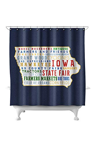 Lantern Press Iowa - State Outline and Typography 88276 (74x74 Polyester Shower Curtain)