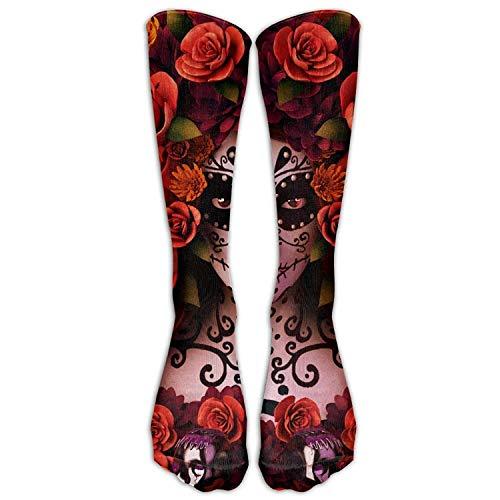 Custom Funny Stockings Sugar Skulls and Roses Day of Dead Halloween Vent Crew Girls Boys Knee Long Socks Travel -