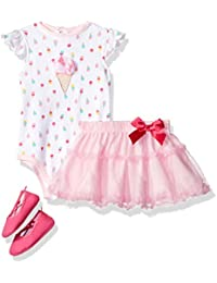 Baby Girls' 3 Pc Rear Snap Bodysuit Set With Tutu and Ballerina Slippers