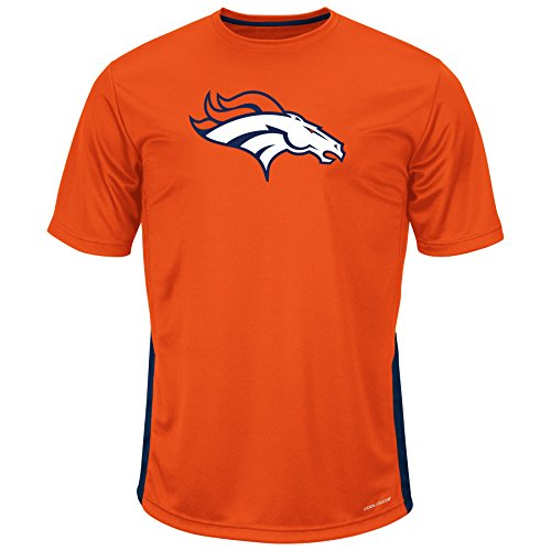 Profile Big & Tall NFL Denver Broncos Adult Men NFL Plus S/Pieced Birdseye Crew,XLT,Navy/Orange