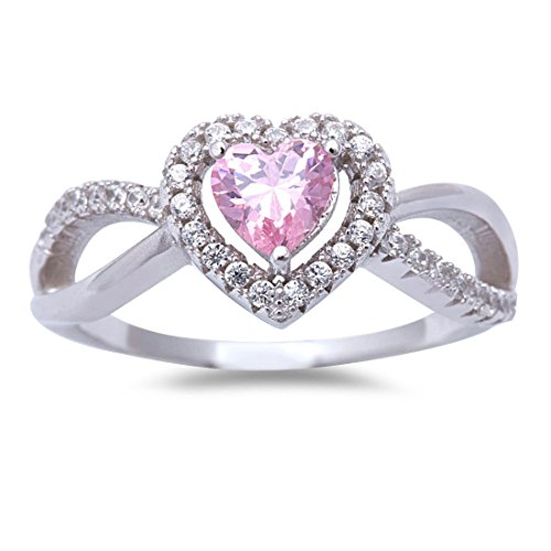 Blue Apple Co. Halo Split Shank Heart Promise Ring Pink CZ Round Simulated 925 Sterling Silver