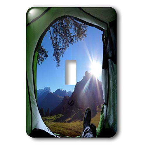 3dRose 2 Travel - Camping, Hiking, Biking Activities - Mountain View from the Tent Camping Vacation - single toggle switch (lsp_311404_1)
