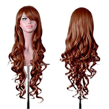 Amazon Com Therang Women Lady Long Wavy Curly Hair Anime Cosplay