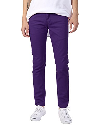 Twill Jean Leggings - JD Apparel Men's Basic Casual Colored Skinny Fit Twill Jeans 34Wx30L Purple