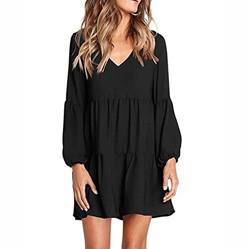 YANMAY Women's V Neck Long Sleeve Tunic Top Loose Drape Ruffle Design Mini Dress Black X-Large 1042-1
