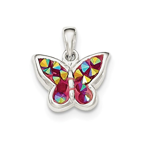 925 Sterling Silver Pink Crystal Butterfly Pendant Charm Necklace Animal Fine Jewelry Gifts For Women For -