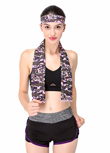 "Cooling Towel with Bandana for Sport,40""x 12 ""Soft Microfiber Towel with Headband Set for Fitness, Running, Cycling, Gym, Crossfit, Hiking, Yoga (Multi Pink)"