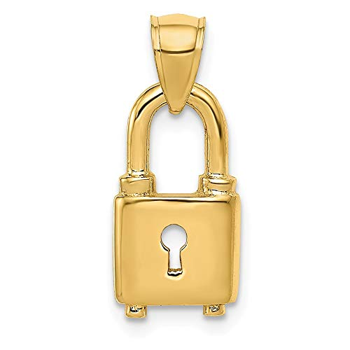 Jewelry Stores Network 14K Yellow Gold Polished Padlock Pendant 14x8mm