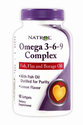 Natrol Omega-3-6-9 Complexe de lin et de bourrache, 90 gélules (Pack de 2)