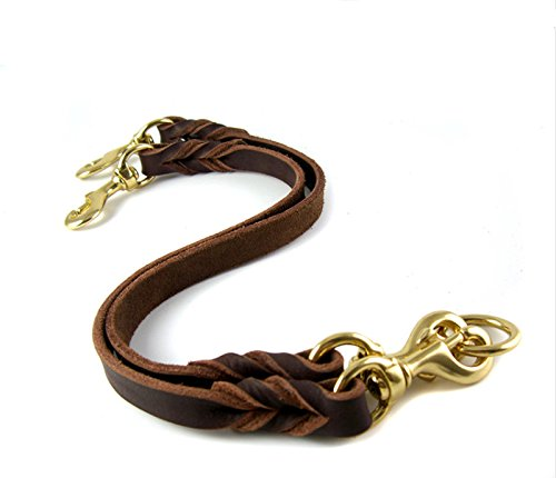 OCSOSO Dual Double Dog Leash No-Tangle Geniue Leather Braided Lead for Two Medium Large Dogs (M) by OCSOSO (Image #2)