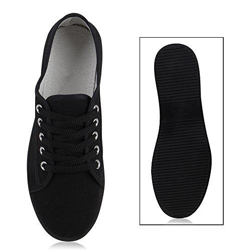 Stiefelparadies Basic Damen Sneakers Sneaker Low Spitze Stoffschuhe Schnürer Freizeitschuhe Flandell Schwarz Avelar