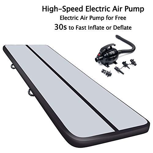 10ft Air Track Floor Tumbling Gym Mat | Airtrack Fitness Flooring Mat | Inflatable Gymnastics Mat | Landing Mat | Exercise Mat | Yoga Martial Art Mat for Home Outdoor Training w/Electric Air Pump