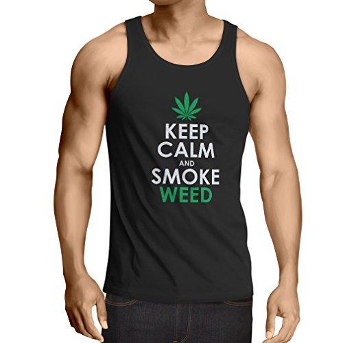 lepni.me Men's Tank Top Keep Calm and Smoke - Marijuana Leaf Weed Smoker (XXXX-Large Black White)