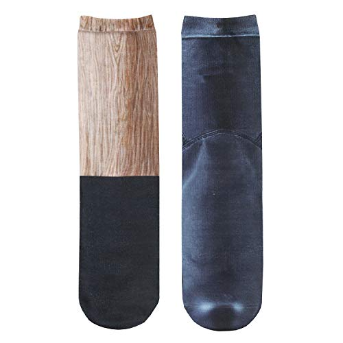 What On Earth Unisex Sublimated Pirate Peg-Leg Socks - Wooden Leg and Boot Print Footwear ()