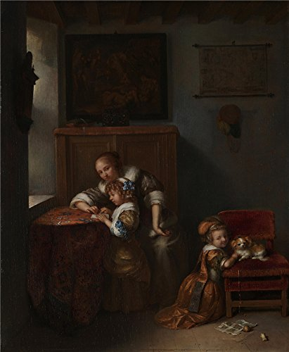 - Oil Painting 'Caspar Netscher - A Lady Teaching A Child To Read,probably 1670s' 18 x 22 inch / 46 x 56 cm , on High Definition HD canvas prints is for Gifts And Bed Room, Home Office And Kids decor