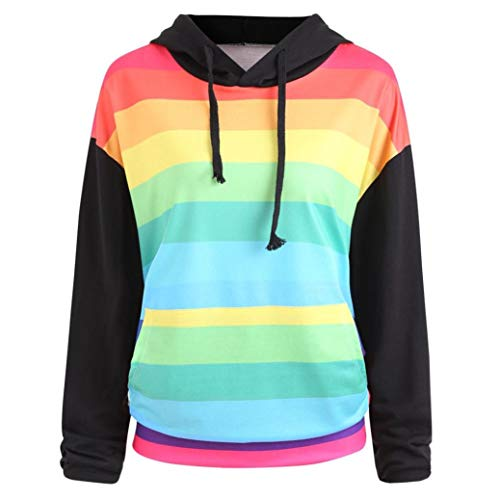 Ladies Rainbow Print Long Sleeve Hoodie, Sttech1 Women Fashion Hoodie Pullover Blouse Shirts Sweatshirt S-XXL