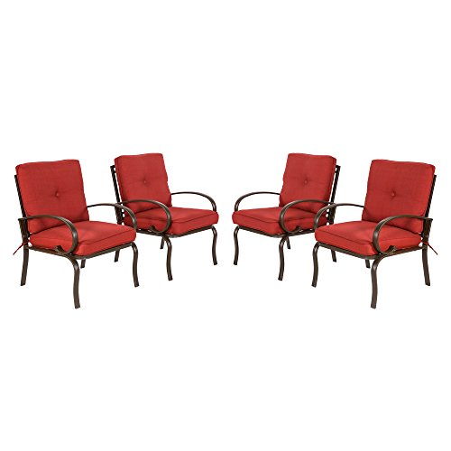 Set Dining Iron (Cloud Mountain Set of 4 Patio Club Chairs Outdoor Patio Dining Chairs Wrought Iron Set Garden Dining Seating Chair, Brick Red Cushions)