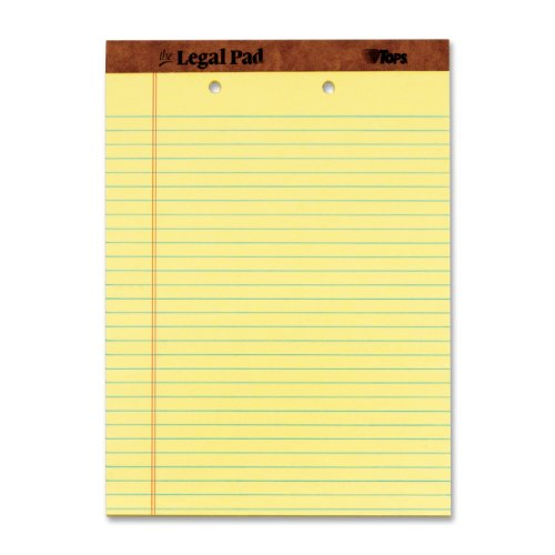 TOPS The Legal Pad Legal Pad, 8-1/2 x 11-3/4 Inches, Perforated, 2-Hole Punched, Canary, Legal/Wide Rule, 50 Sheets per Pad, 12 Pads per Pack (7531)
