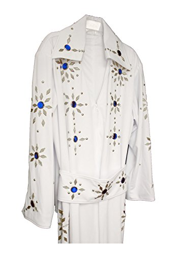 Men's Elvis Presley Deluxe Jumpsuit Costume with Cape (2XL, White (Blue Stones)) by Largemouth