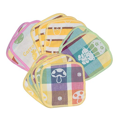 KaWaii Baby 12/Pack Muslin Cotton Wash Cloth Wipes for Diaper Change| 100% Cotton, Washable, Reusable, Very Absorbent Multi Layers Wash Cloth| Handkerchief, Burp Cloth