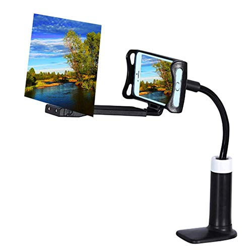 Screen Magnifier Projection,Flexible Phone Stand, 360 Rotating Bracket for Universal Cell Phone, Lazy Phone Holder Long Arm Gooseneck,Safe Grip Securely Clamped to Desk, Bed Post, Counter Top