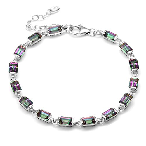 - 10.2ct. Mystic Fire Topaz White Gold Plated 925 Sterling Silver 7-8.5 Inch Adj. Tennis Bracelet