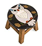Plow & Hearth Hand-Carved Wood Owl Footstool - 12 L x 12 W x 10 H