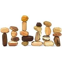 22 Piece Tumi Ishi Balancing Block Set - The ORIGINAL Wood Rocks - Mixed Wood Species - Natural Wood Toy - Organic Jojoba Oil and Beeswax Finish - Handmade Wooden Toy - Educational Toy - USA Made