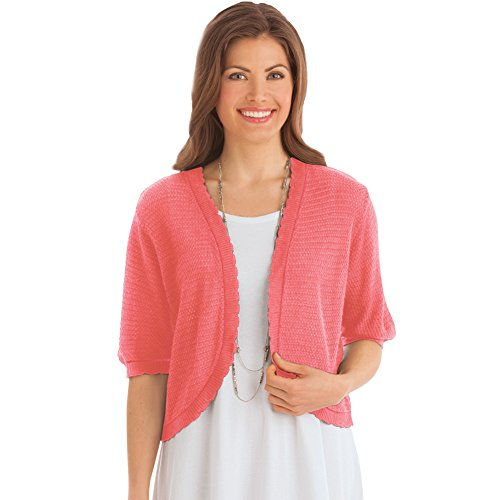 Women's Open Stitch Short Sleeve Layering Sweater Shrug, Coral, Xx-Large - Made in The USA