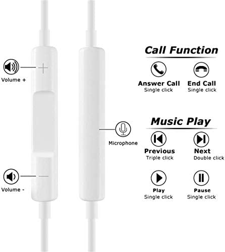 2 Pack-Apple Headphones/Earphones/Earbuds with 3.5mm in Ear Wired Headphone Plug [Built-in Microphone & Volume Control] [Apple MFi Certified] Compatible with iPhone,iPad,iPod,Android,Laptops,MP3/4 419uplMIGUL
