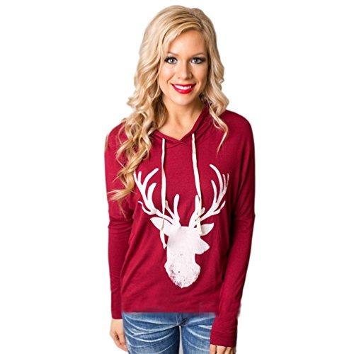Price comparison product image Women Pullover, Franterd Christmas Elk Reindeer Holiday Hoodie Sweatshirt Tops