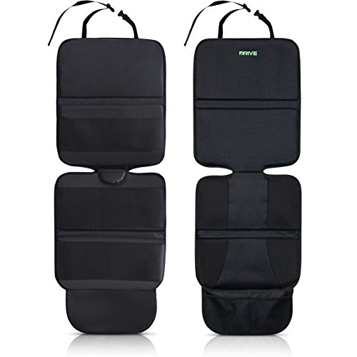 Drive Auto Products Car Seat Protector (2-Pack), Black - Ultimate Neoprene Backing is Best Protection for Child & Baby Cars Seats, Dog Mat - Cover Pad Protects Automotive Vehicle Upholstery (Booster Pad Top Liner)