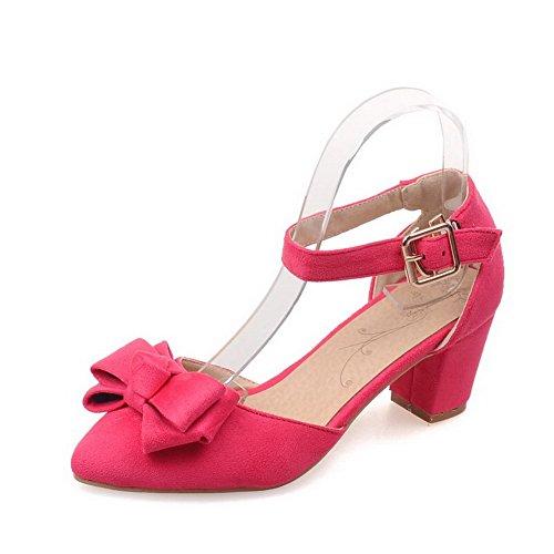 Chaussures Couleur Suédé à Pointu Légeres Femme Cramoisi Correct Unie Boucle Talon AllhqFashion qwAZpxTzOZ