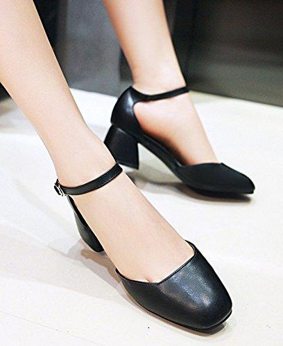 Aisun Womens Eenvoudige Vierkante Teen Dressy Buckled Blok Mid-hiel Dorsay Enkelbandje Pumps Schoenen Zwart