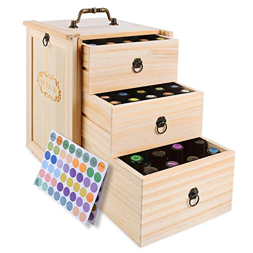 Essential Oil Box 3 Tier Wooden Storage Case With Handle Holds for 75 Bottles Roller Balls Essential Oil Space Saver Free EO Labels