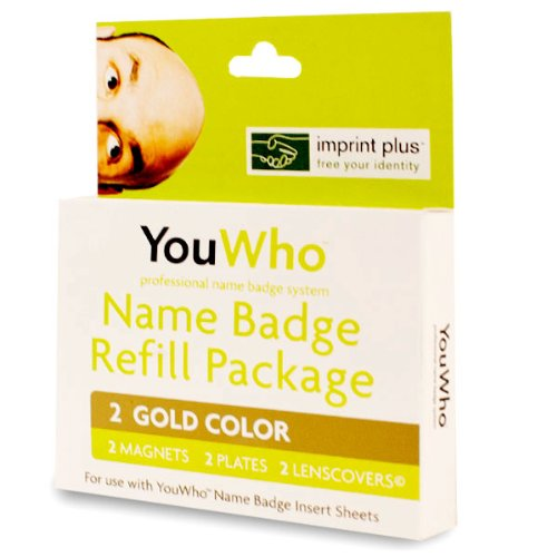 YouWho 2-Unit Professional Name Badge Refill Pack (Gold) Badge Refill