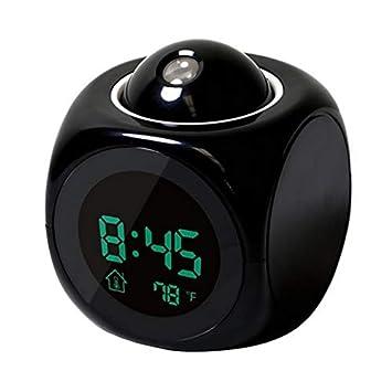 Mimagogo De proyección LCD de Alarma por Voz Que Habla de Reloj Digital con visualización de Temperatura: Amazon.es: Hogar