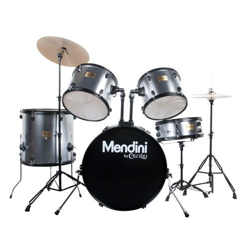 8 Piece Double Bass Shell - Mendini by Cecilio Complete Full Size 5-Piece Adult Drum Set with Cymbals, Pedal, Throne, and Drumsticks, Metallic Silver, MDS80-SR